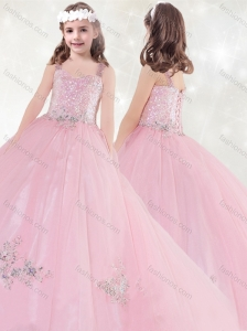 New Style Sequined and Applique Little Girl Pageant Dress in Pink