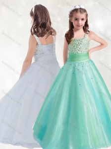 New Style Straps A Line Little Girl Pageant Dress with Beading