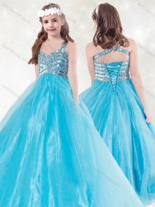 New Style Straps Beading Little Girl Pageant Dress in Aqua Blue