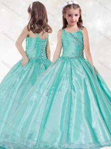 New Style Straps Big Puffy Mint Little Girl Pageant Dress with Beading and Ruching