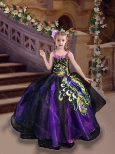New Style Straps Peacock Applique Little Girl Pageant Dress in Purple