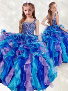 New Style Straps Rainbow Little Girl Pageant Dress with Beading and Ruffles