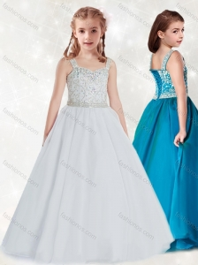 New Style  White Straps Little Girl Pageant Dress with Beading