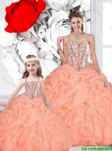 2015 Fall Popular Ball Gown Straps Beaded Macthing Sister Dresses