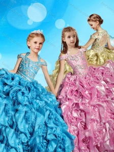 Gorgeous Organza Beaded Bodice Little Girl Pageant Dress with Open Back