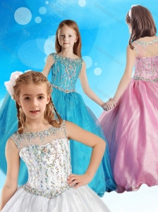 Beautiful See Through Beaded Bodice Little Girl Pageant Dress with Zipper Up