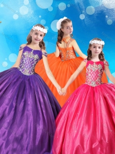 Best Beaded Bodice Tulle Little Girl Pageant Dress with Off the Shoulder