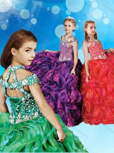 Cheap Beaded and Ruffled Little Girl Pageant Dress with Halter Top