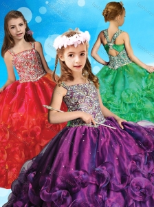 Cheap Criss Cross Organza Little Girl Pageant Dress with Beaded Bodice