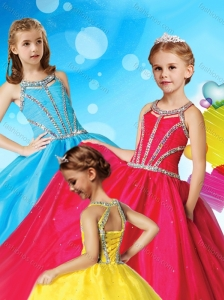 Classical Beaded Decorated Scoop Little Girl Pageant Dress in Tulle