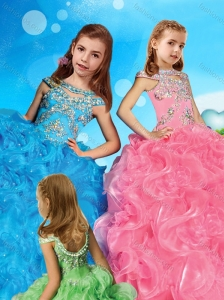 Comfortable Scoop Cap Sleeves Little Girl Pageant Dress with Beading and Ruffles