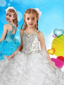 Delicate Straps White Little Girl Pageant Dress with Beading and Ruffles