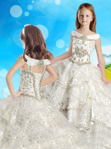 Discount Cap Sleeves Beaded Little Girl Pageant Dress with Off the Shoulder