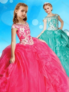 Exclusive Beaded Decorated Bodice and Cap Sleeves Little Girl Pageant Dress