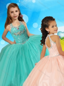 Fashionable Beaded Open Back Little Girl Pageant Dress in Turquoise