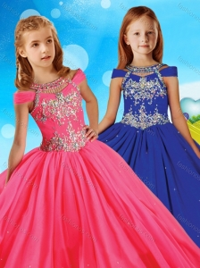 Fashionable Beaded Scoop Little Girl Pageant Dress with Cap Sleeves