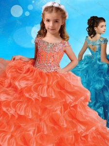 Fashionable Orange Little Girl Pageant Dress with Beaded Decorated Cap Sleeves