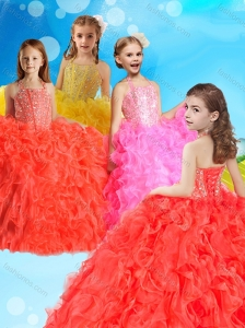 Gorgeous Beaded and Ruffled Little Girl Pageant Dress with Halter Top