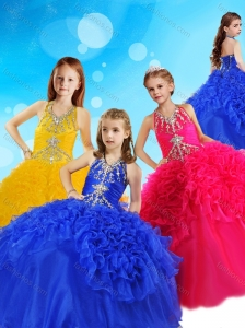 Gorgeous Halter Top Big Puffy Little Girl Pageant Dress with Beading and Ruffles