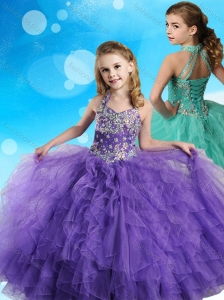 Halter Top Beaded and Ruffled Little Girl Pageant Dress in Eggplant Purple