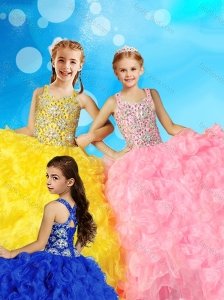 Luxurious Ball Gown Straps Little Girl Pageant Dress with Beading and Ruffles