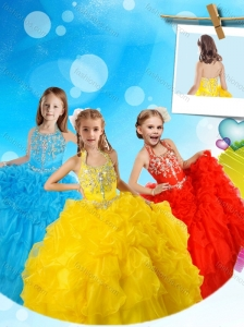 Most Popular Halter Top Yellow Little Girl Pageant Dress with Beading and Pick Ups