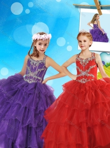 New Arrivals Beaded and Ruffled Layers Little Girl Pageant Dress with Straps