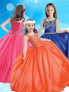 New Arrivals Square Puffy Skirt Little Girl Pageant Dress with Beading