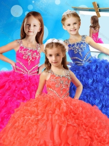 New Style Asymmetrical Neckline Little Girl Pageant Dress with Beading and Ruffles