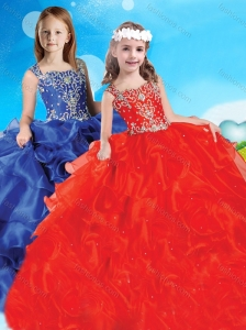 New Style Beaded and Ruffled Straps Little Girl Pageant Dress in Red