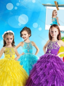 New Style Scoop Little Girl Pageant Dress with Beading and Ruffled Layers