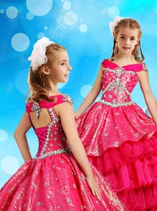 Off the Shoulder Red Little Girl Pageant Dress in Organza and Sequins
