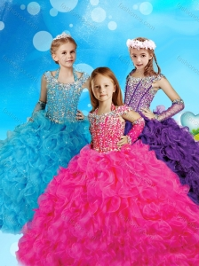 Pretty Halter Top Cap Sleeves Little Girl Pageant Dress with Beading and Ruffles