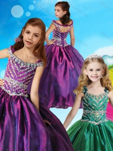 Pretty Off the Shoulder Beaded Little Girl Pageant Dress in Purple