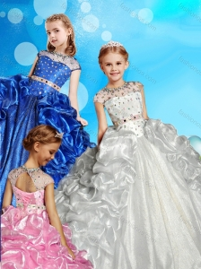See Through High Neck Beaded Little Girl Pageant Dress with Cap Sleeves