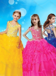 Sophisticated Halter Top Cap Sleeves Little Girl Pageant Dress with Beading and Ruffles