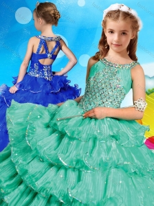 Wonderful Beaded and Ruffled Layers Little Girl Pageant Dress with Criss Cross