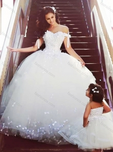 Sophisticated Off the Shoulder Wedding Dresses with Bowknot and Romantic Strapless Flower Girl Dress with Bowknot