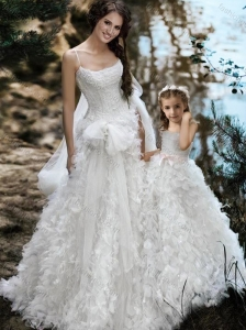 Wonderful Spaghetti Straps Wedding Dresses with Ruffles and Beautiful Straps Flower Girl Dress with Bowknot