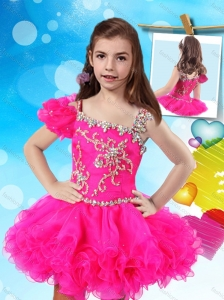 Beautiful Beaded and Ruffled Little Girl Pageant Dress with Asymmetrical Neckline