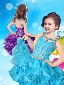 Lovely Beaded and Ruffled Layers Scoop New Style Little Girl Pageant Dress in Organza