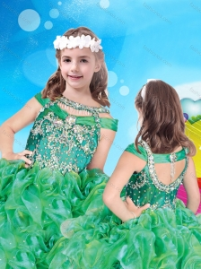 Top Selling Bateau Green New Style Little Girl Pageant Dress with Beading and Ruffles