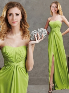 Beautiful High Slit and Ruched Chiffon Modest Prom Dress in Yellow Green
