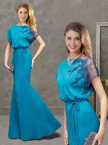 Classical Mermaid Bateau Applique Satin Mother of the Bride Dress in Teal