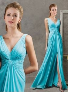 Deep V Neckline Aqua Blue Modest Prom Dress with Ruching and High Slit