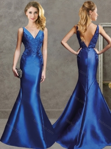 Gorgeous Mermaid V Neck Royal Blue Evening Dress with Appliques