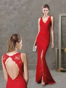 Laced and High Slit Deep V Neckline Red Modest Prom Dress with Brush Train
