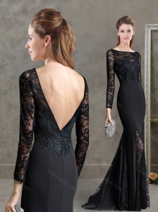 See Through Long Sleeves Mermaid Black Mother of the Bride Dress in Lace and Satin