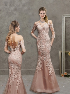 See Through Scoop Mermaid Peach Mother of the Bride Dress in Lace and Tulle