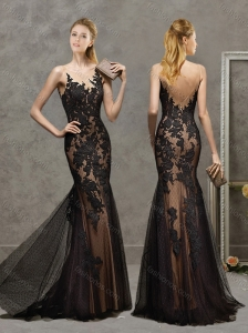 Top Selling See Through Scoop Laced and Tulle Mother of the Bride Dress in Black